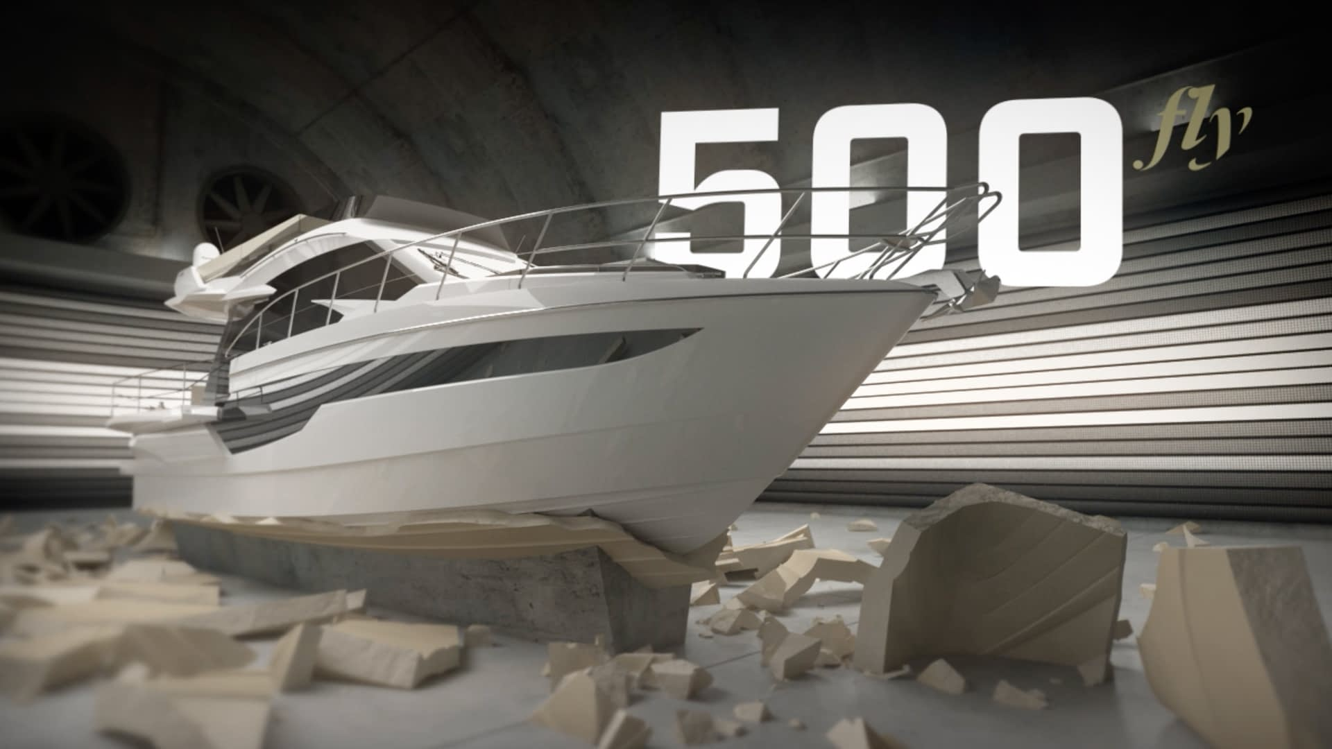 Galeon Yachts video still of boat breaking out of a mold