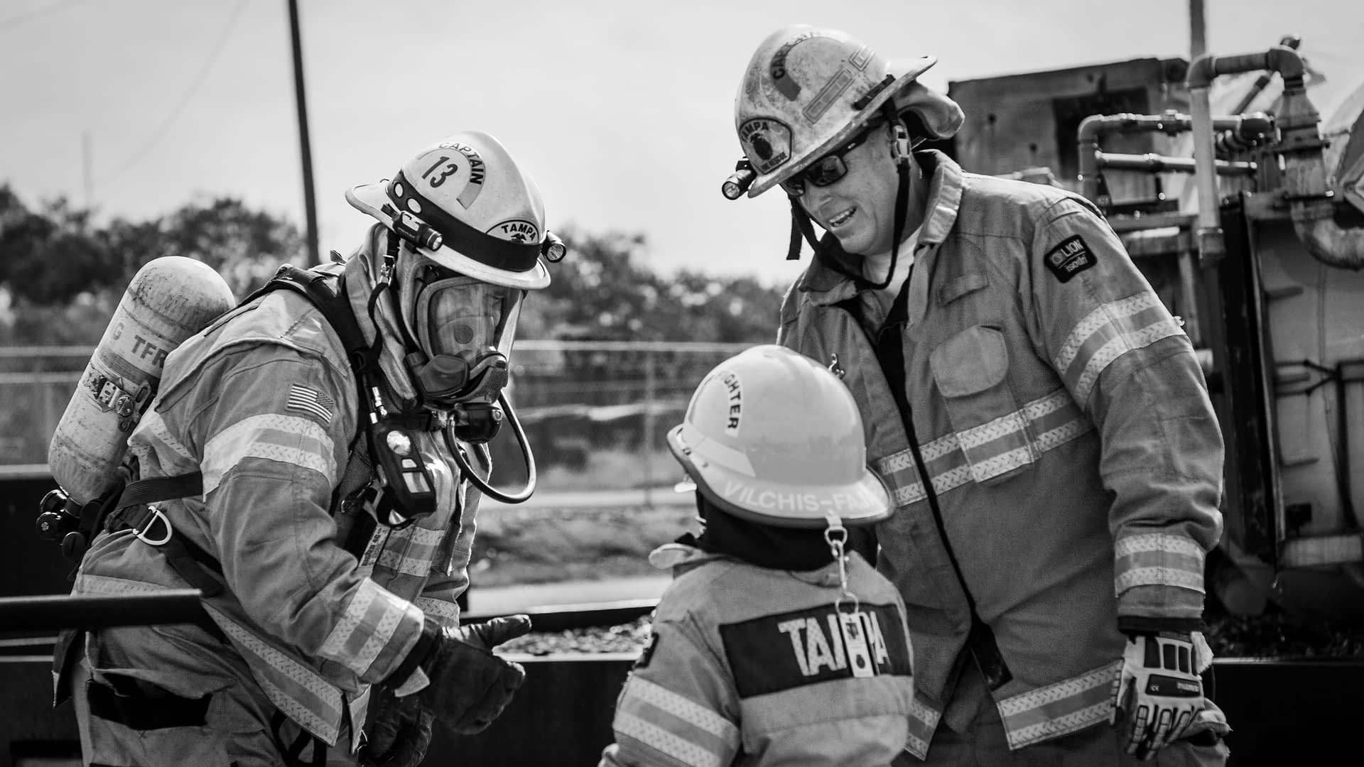 Make-A-Wish Boy Talks With Firefighters