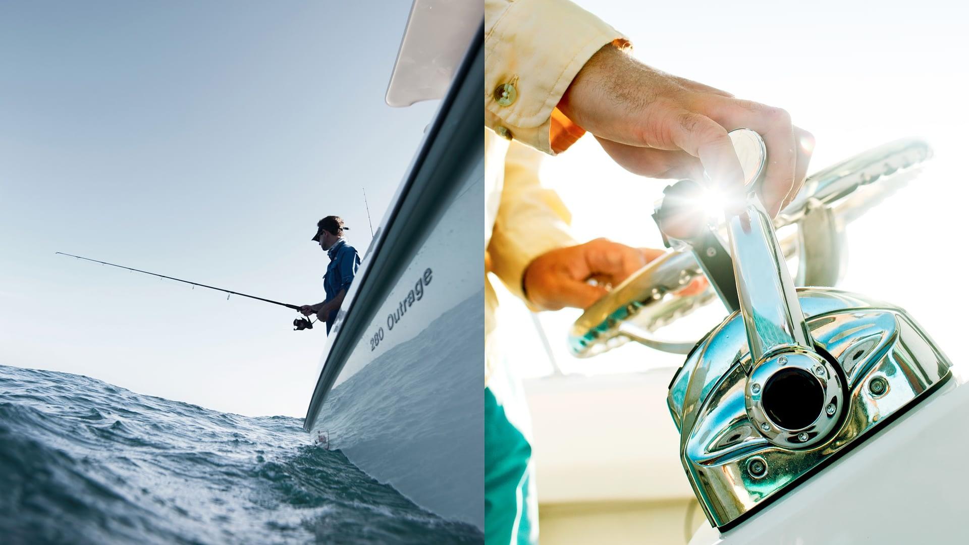 Close ups of boat equipment and man fishing.