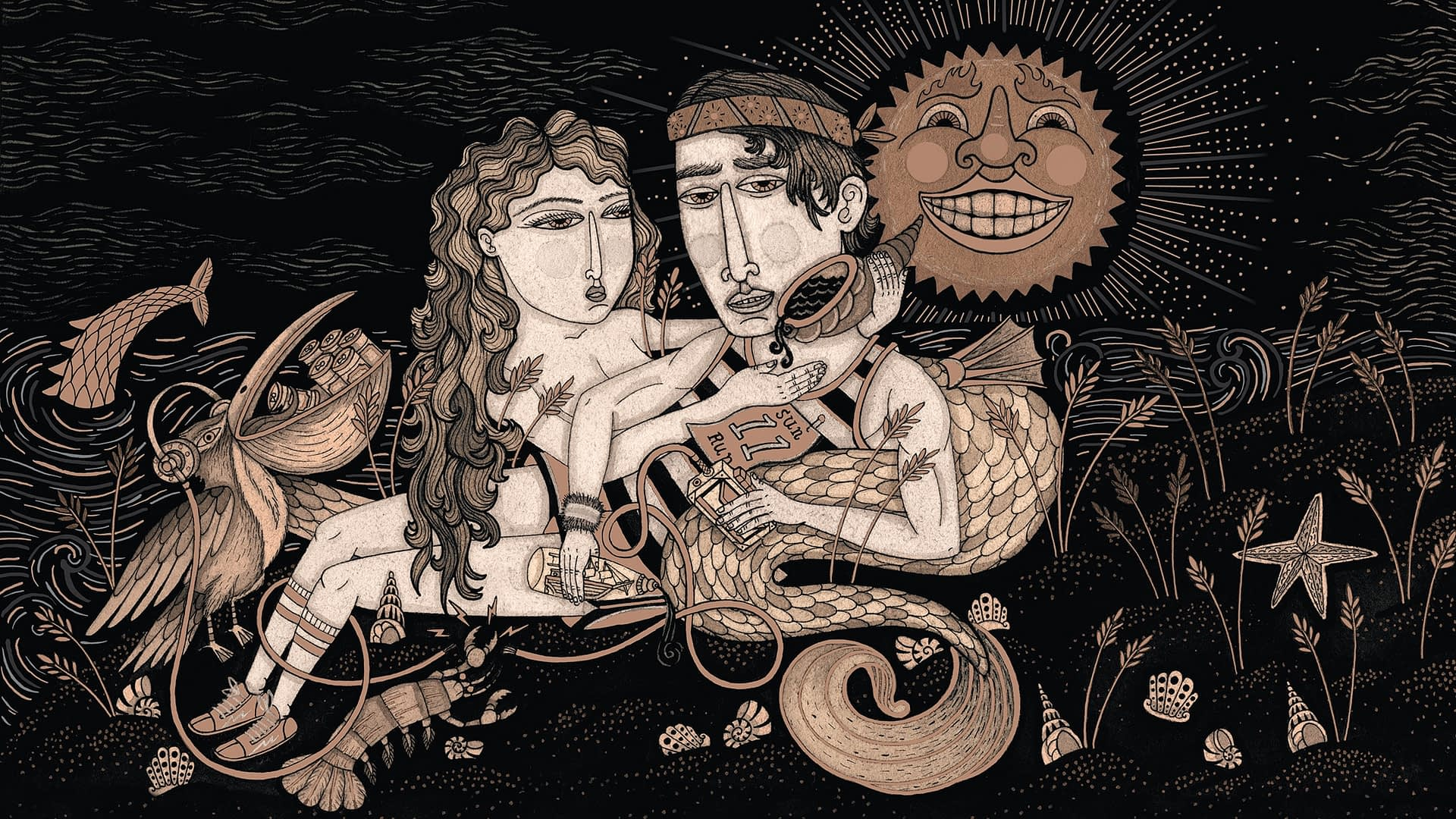 Illustrations used for Coppertail Beer Bottle Design and packaging. Merman and woman featured on Wheat Stroke.