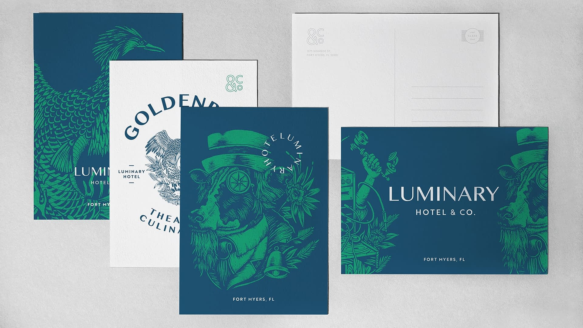 hotel branding work for luminary hotel and co - postcards