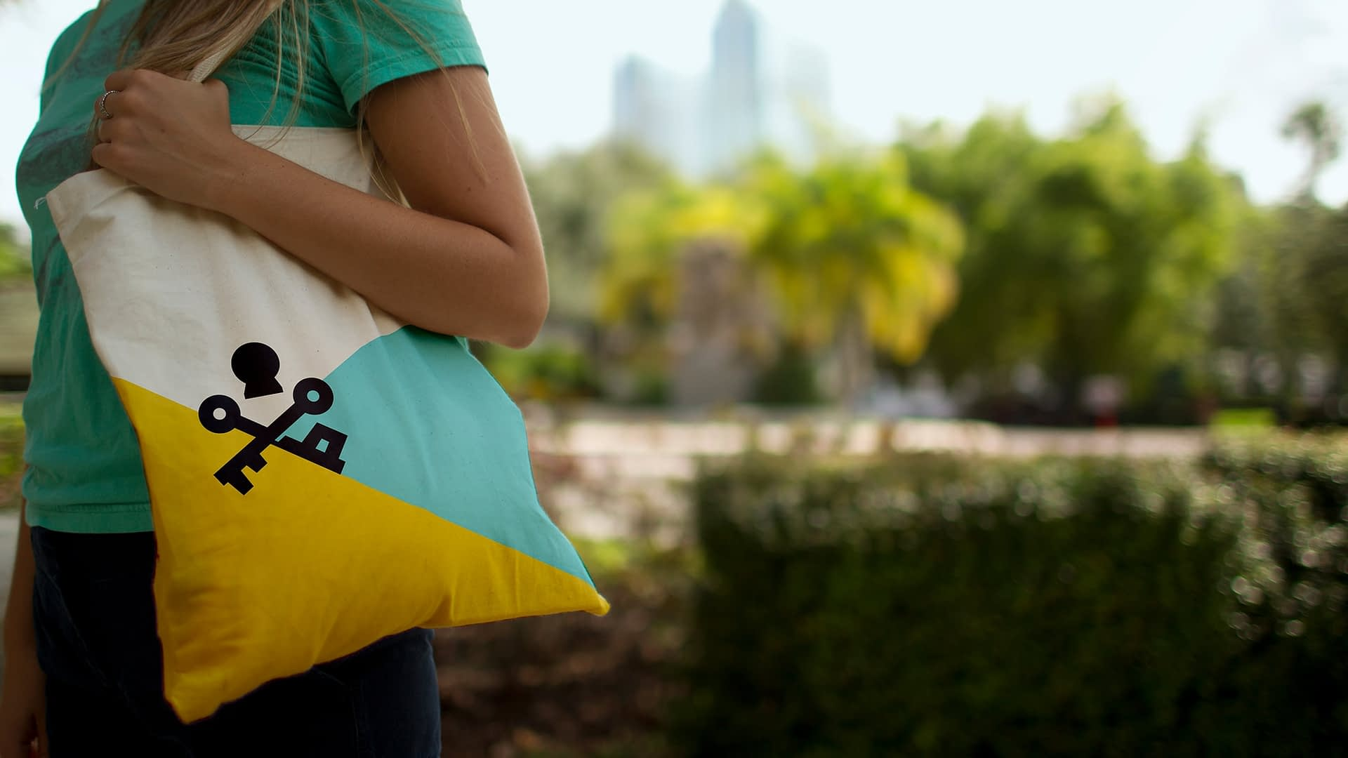 Close up of Visit Tampa Bay bag.