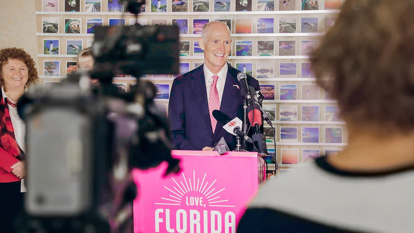 Florida Day in Canada's Integrated Marketing Campaign Creative Example - experience marketing activation - governor Rick Scott's speech