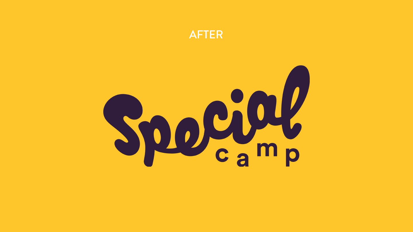 The new special camp logo on a yellow background —from our nonprofit rebrand intiative, STOKED.