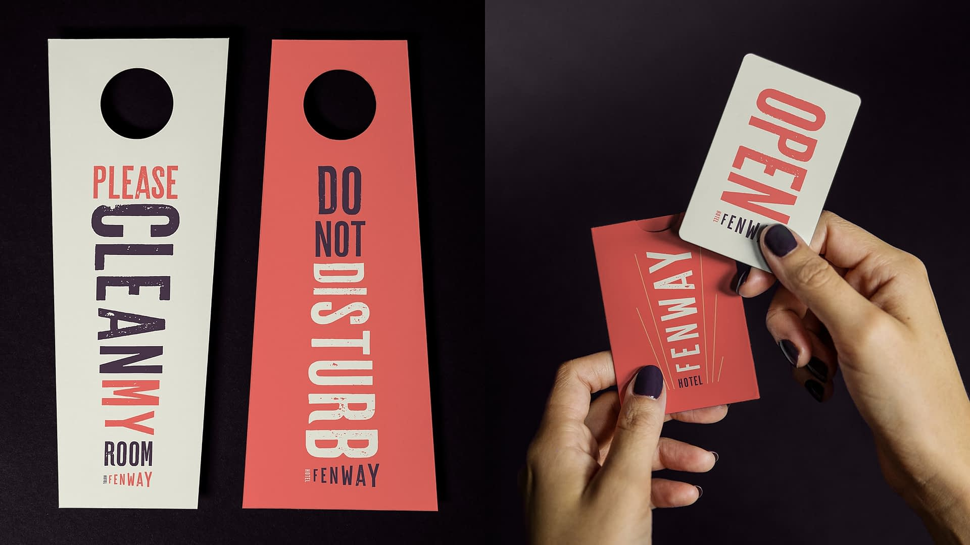 hotel branding elements for Fenway Hotel -hospitality branding project