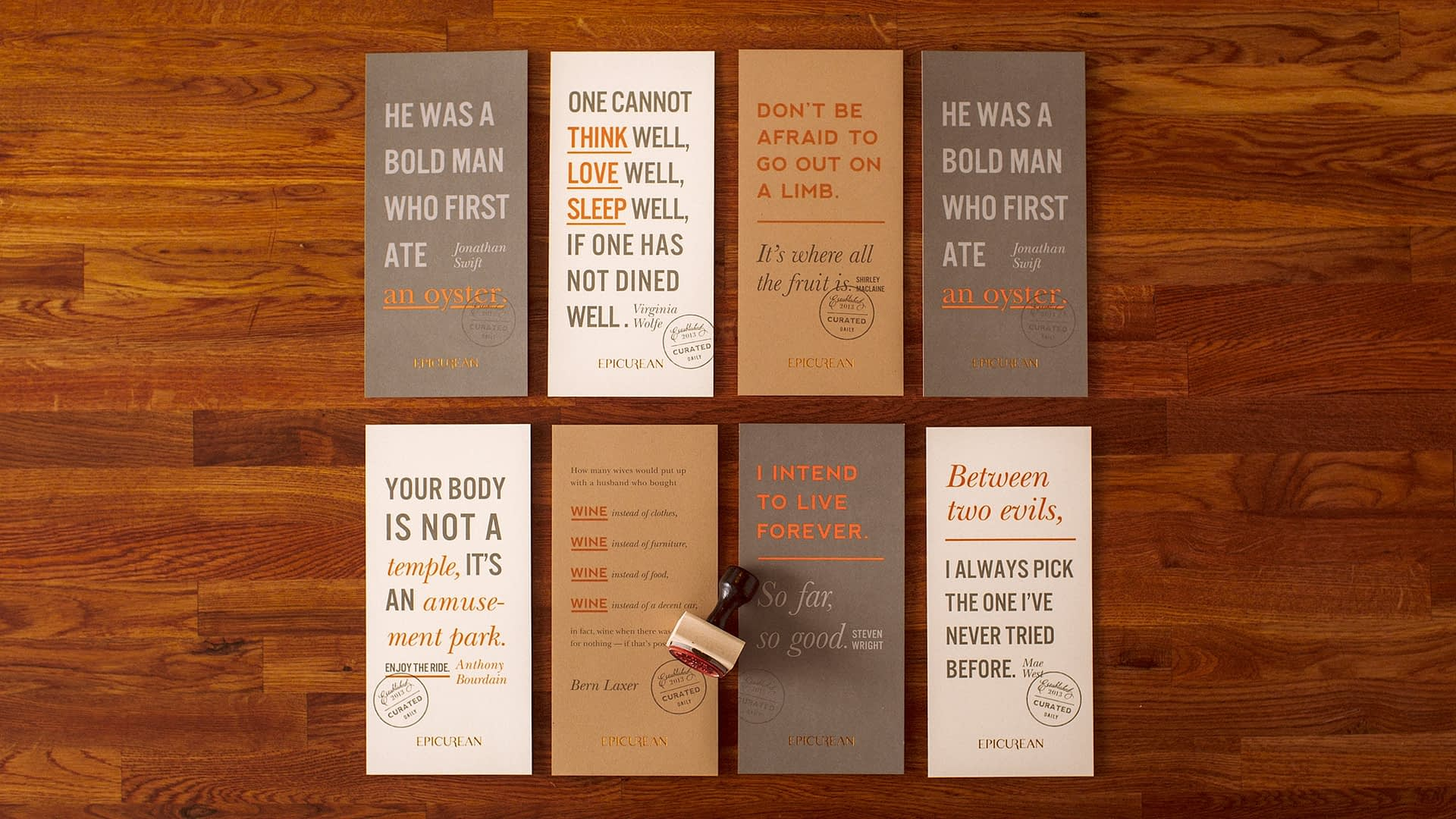 Epicurean Hotel branded quote cards