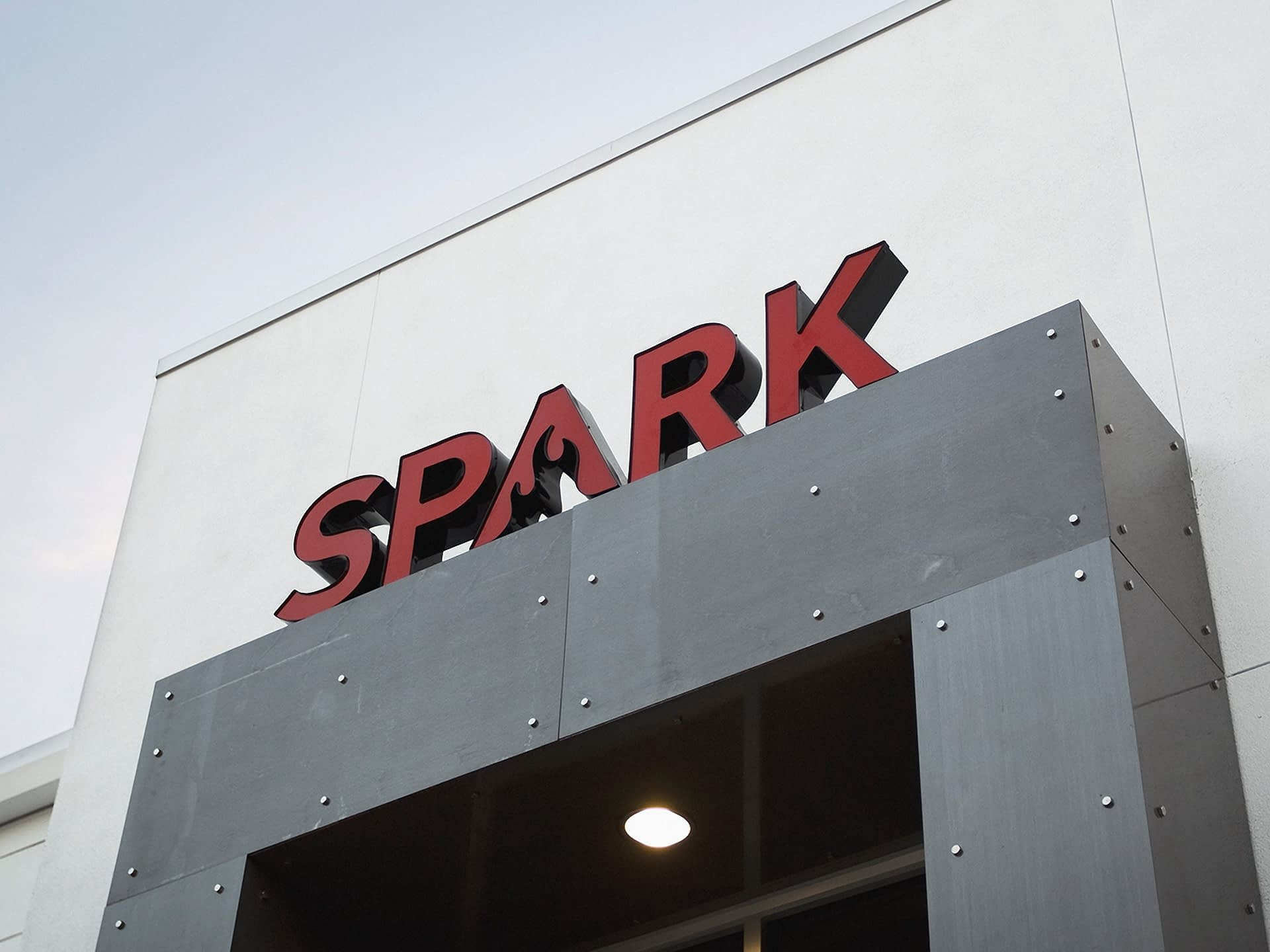 Exterior signage for marketing agency in SPARK Tampa, Florida.