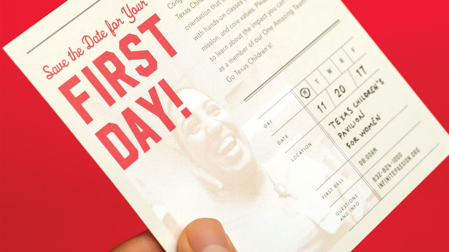 A bell schedule card. These collateral is from rebranding Texas Children's better employee orientation.