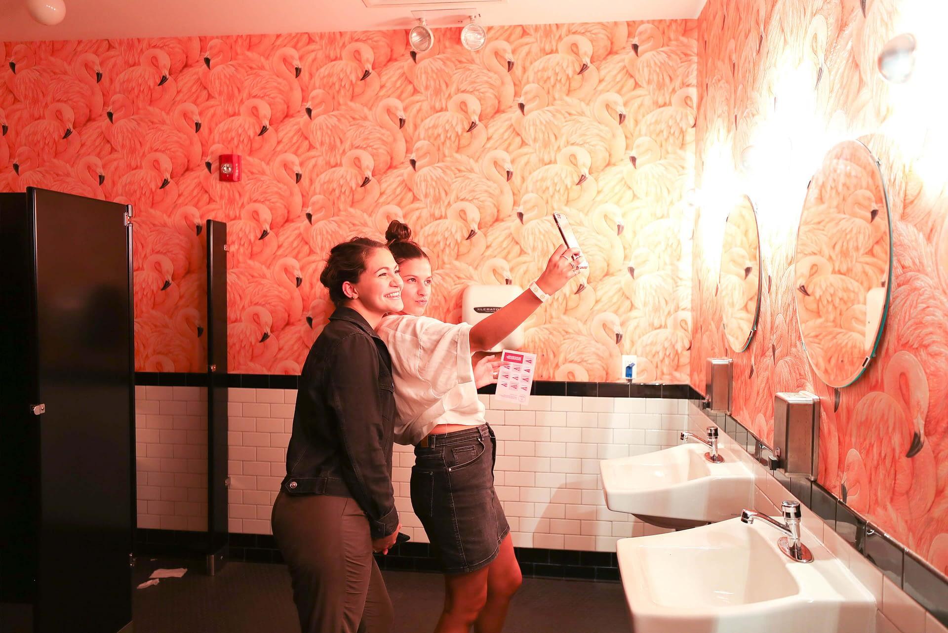 Sunshine Shuffle Flamingo Bathroom Selfie