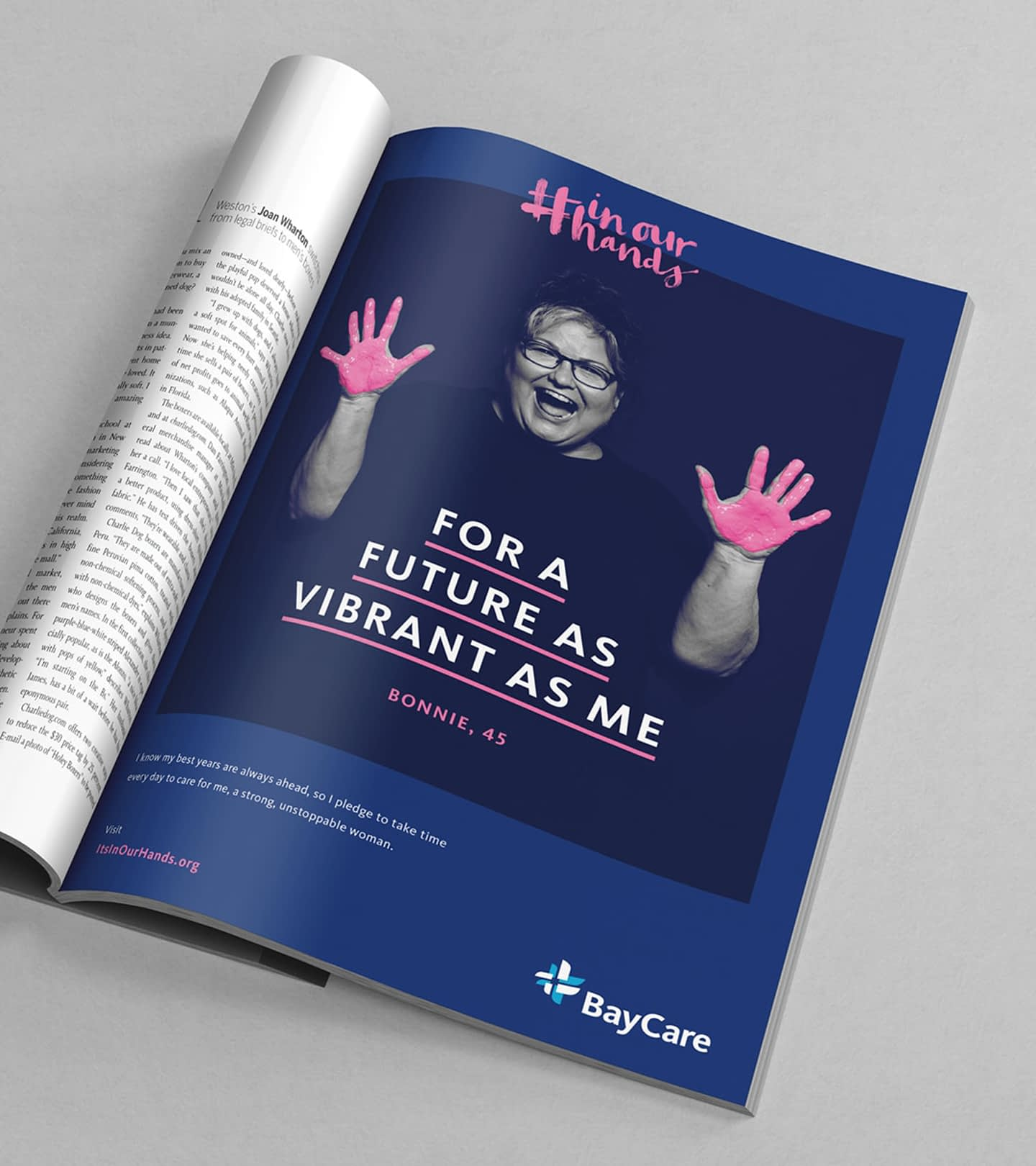 In Our Hands creative campaign ad in a magazine.