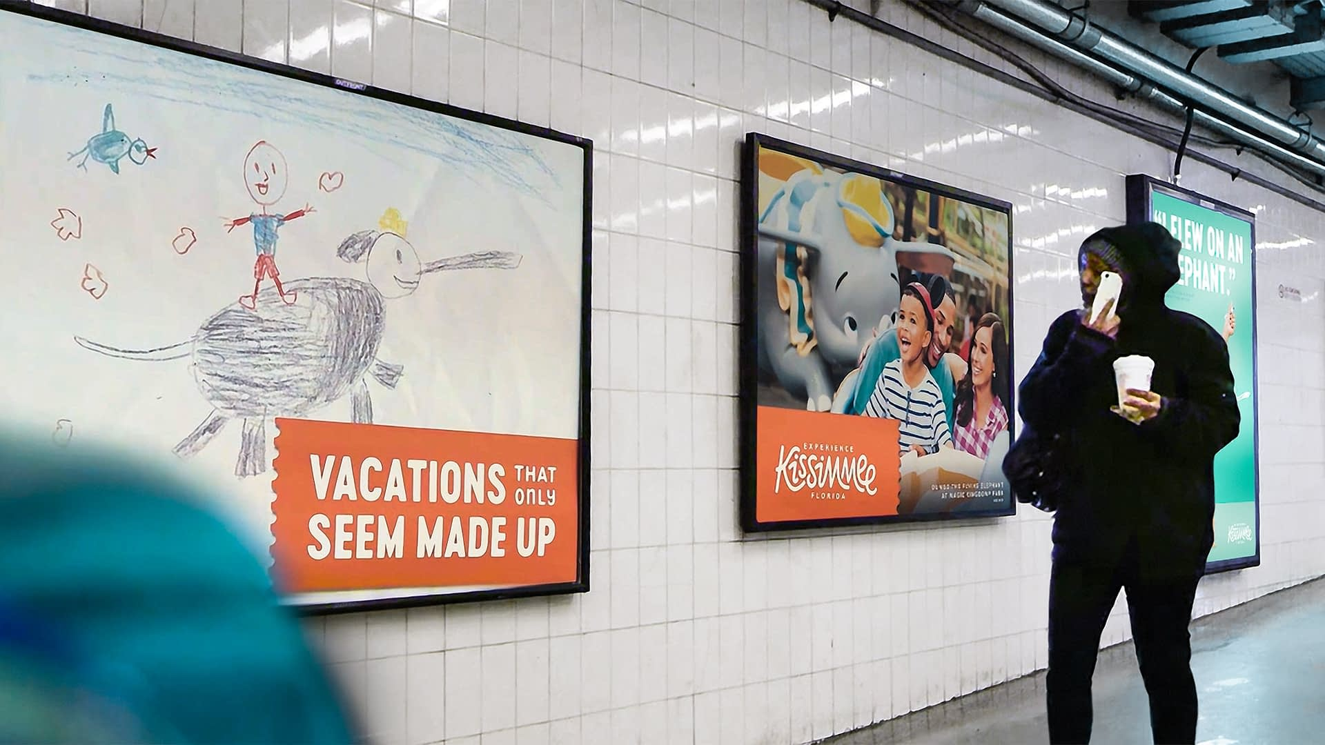 Experience Kissimmee ads in a subway.
