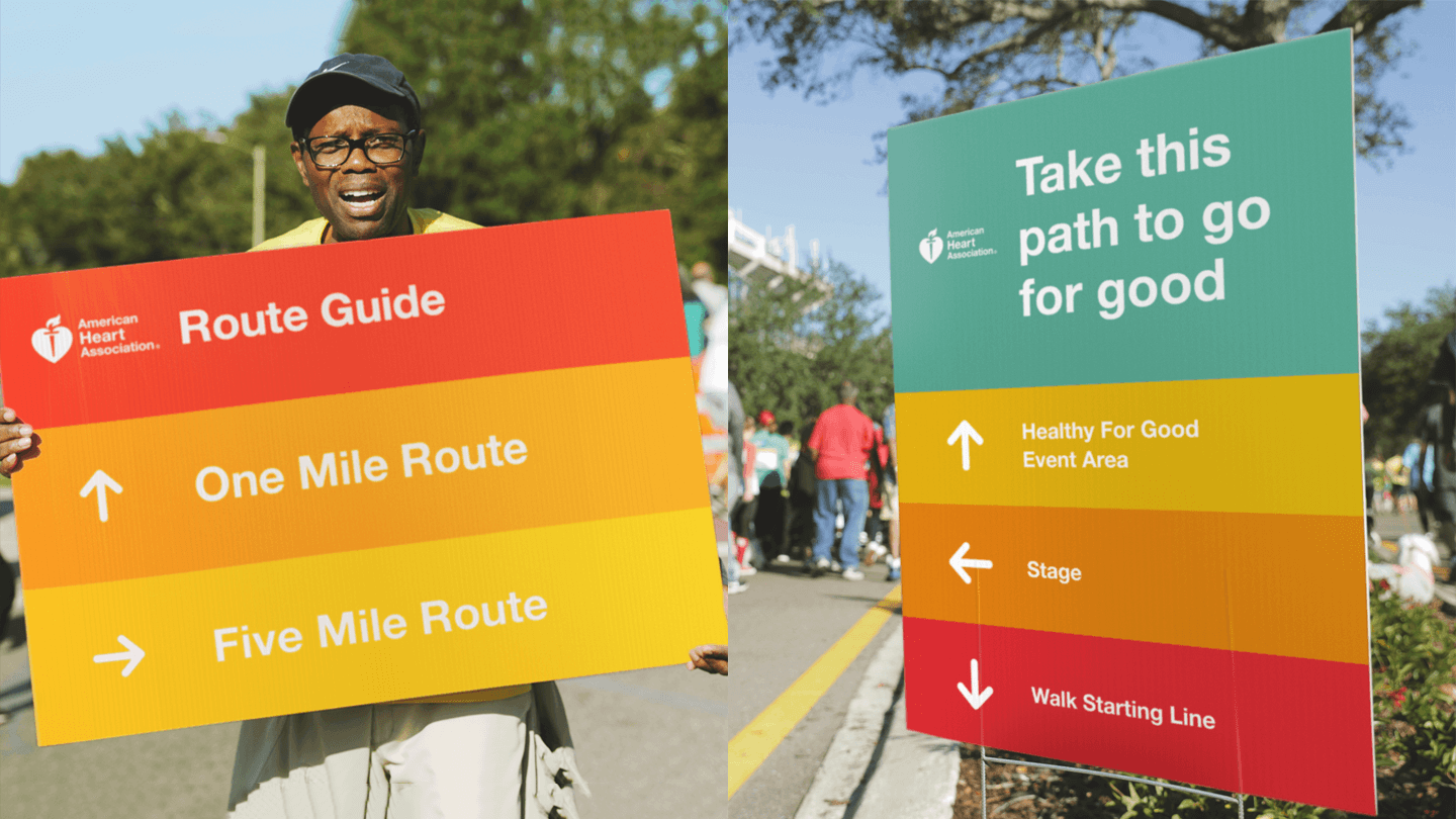 American Heart Associations Rebranded Heart Walk Experience Design - event wayfinding