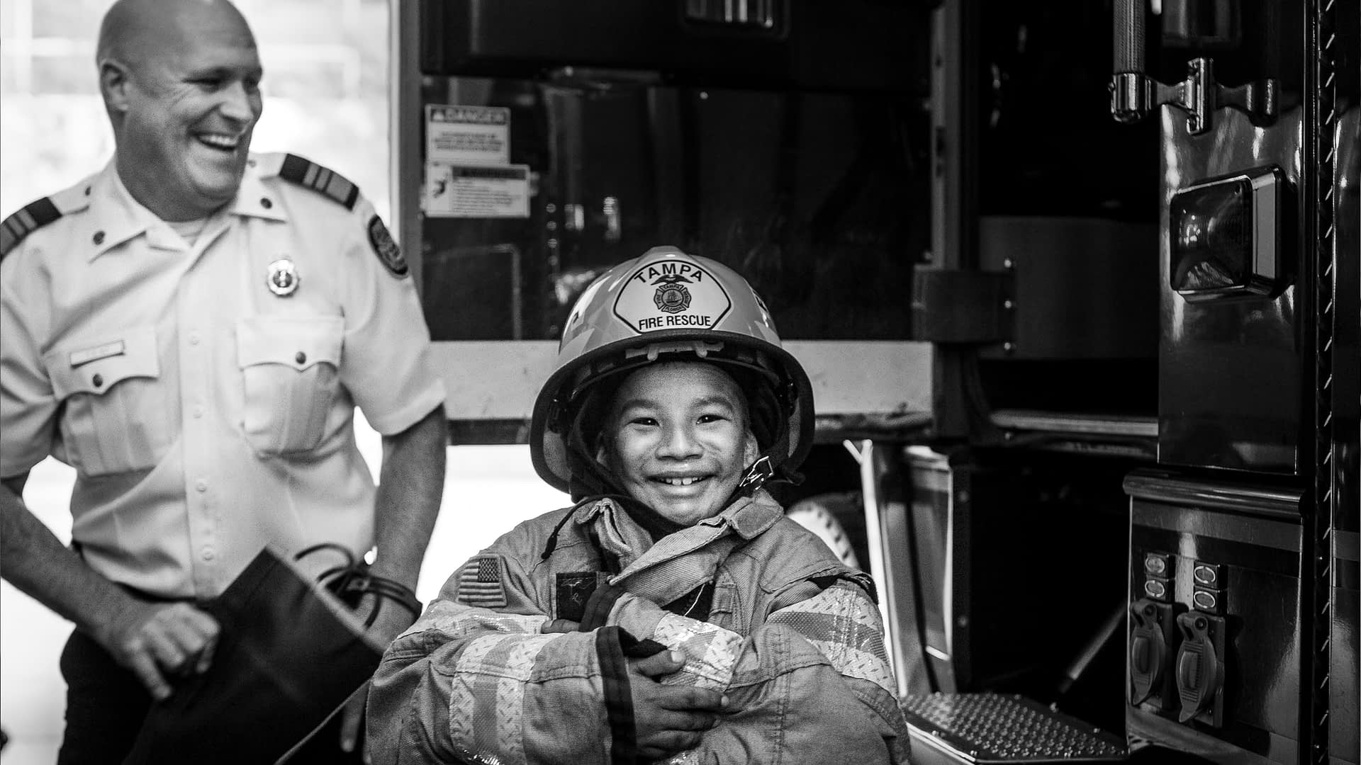 Make-A-Wish Boy In Fireman's Suit