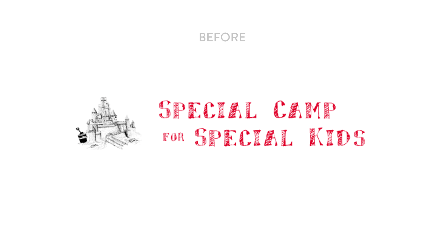 Old special camp logo. It's a sandcastle with the name spelled out like a chalk board.
