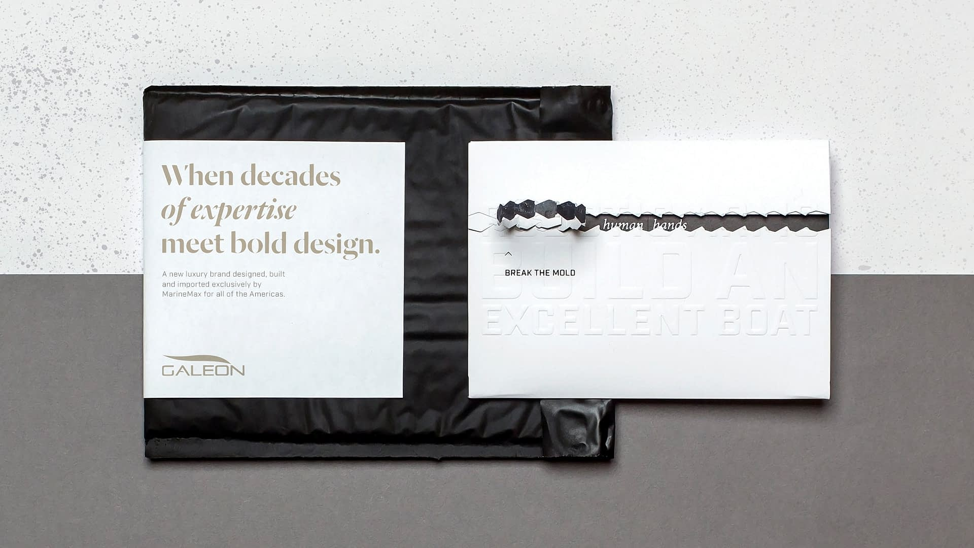 Galeon Yachts packaging created for their break the mold yacht campaign.