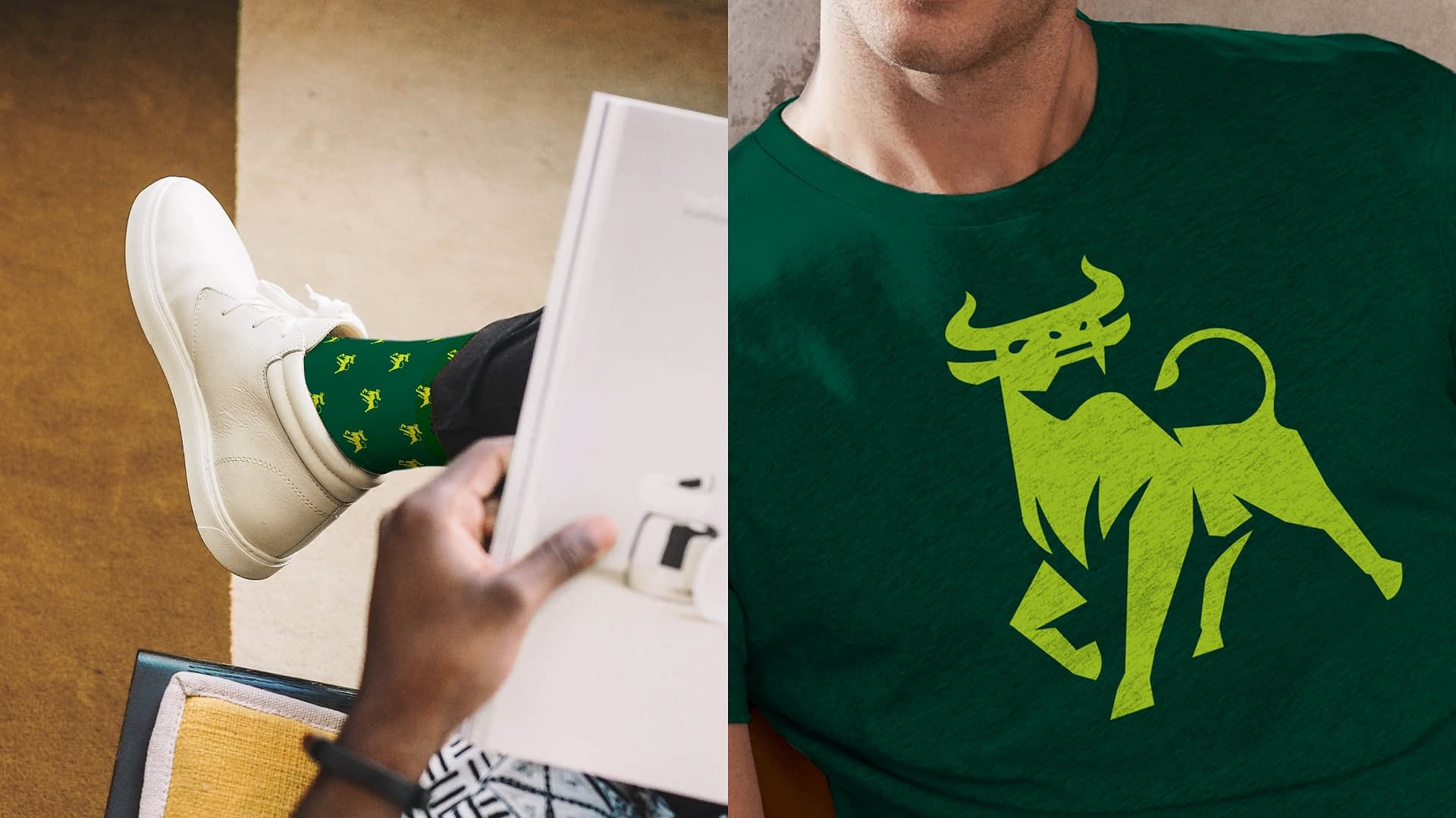 Examples of how USF's new academic logo can be applied to apparel