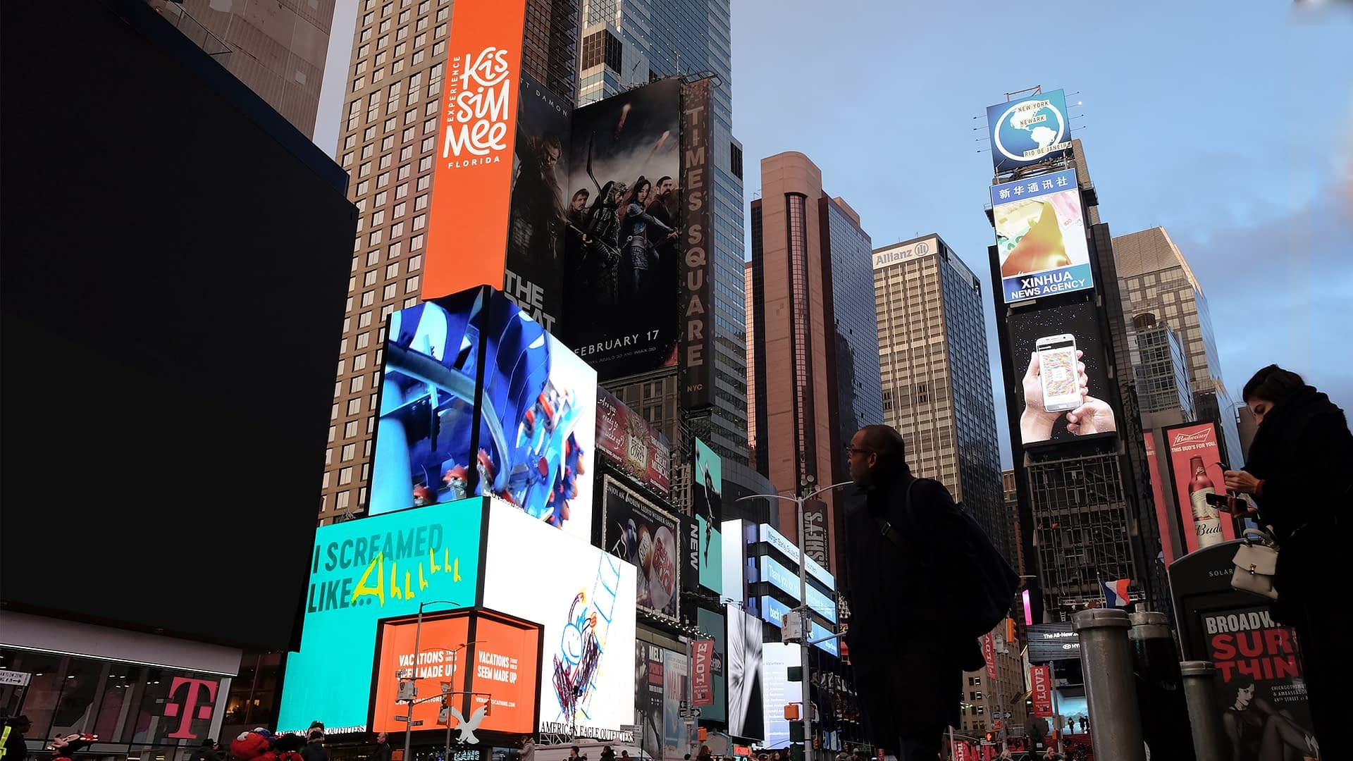 Example of our creative campaign and media planning for Experience Kissimmee's winter campaign. This set of ads was featured in a digital take over of Times Square.