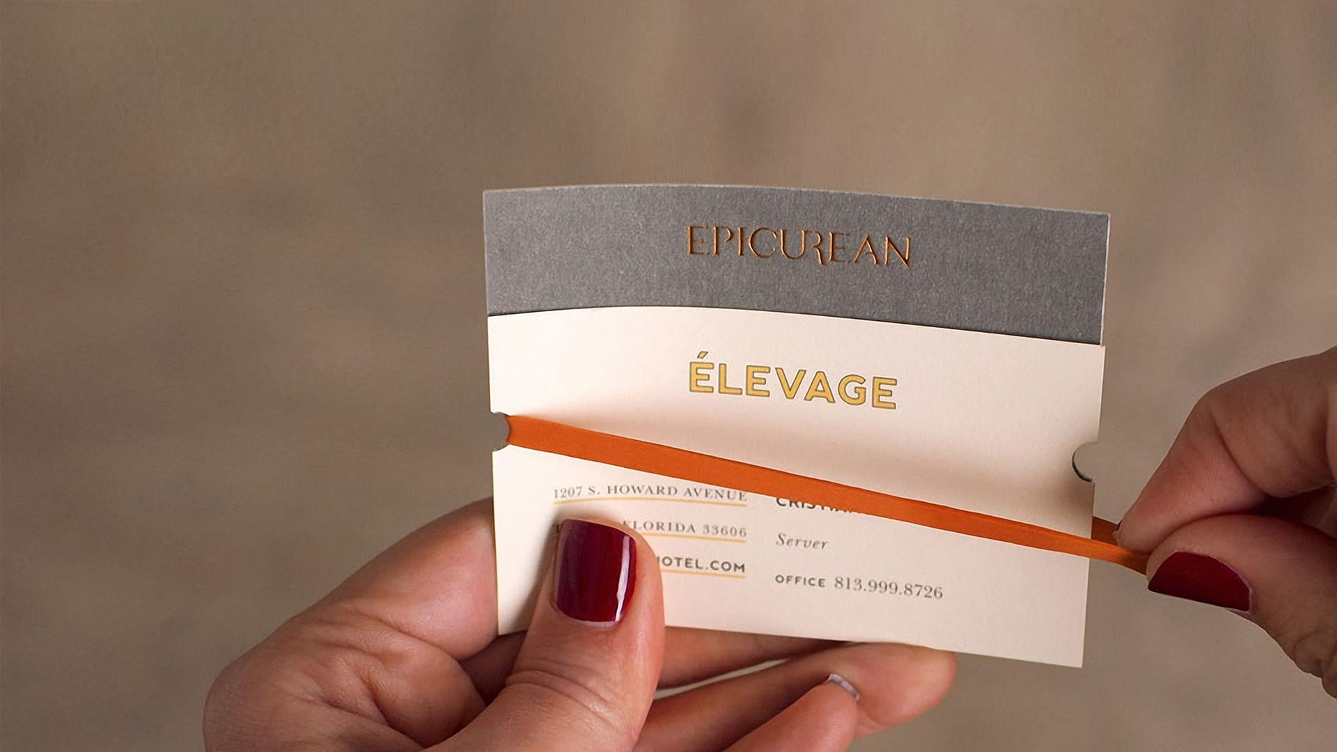 Epicurean Hotel branded business card