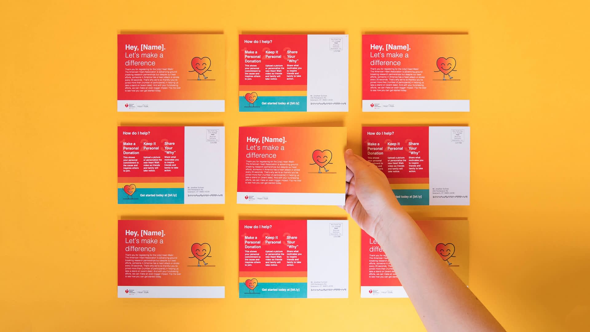 American Heart Associations Rebranded Heart Walk Experience Design - heartwalking cards