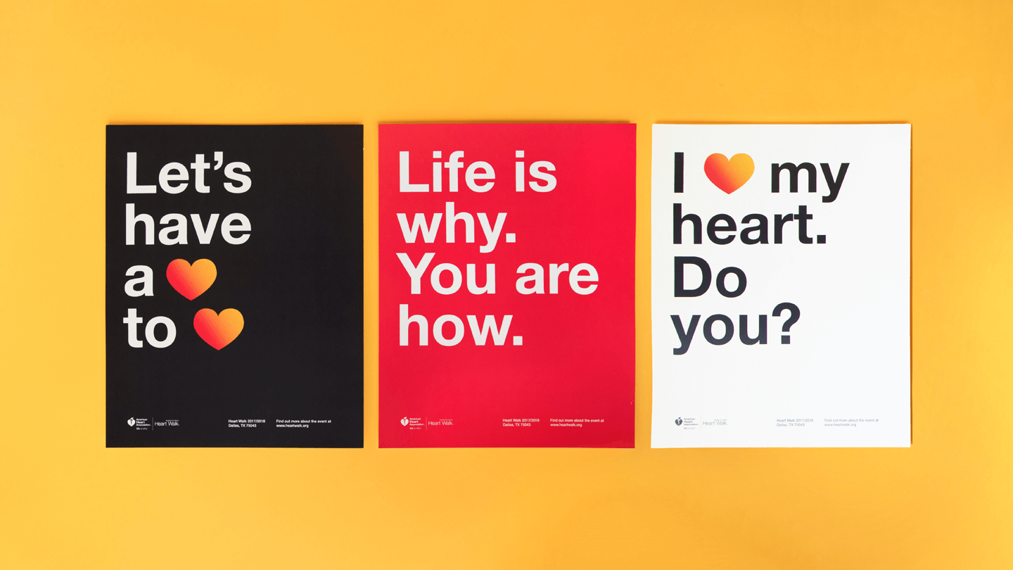 American Heart Associations Rebranded Heart Walk Experience Design - event posters